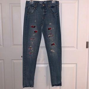 Mossimo Buffalo Plaid Distressed Boyfriend Jeans